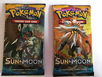 Sun & Moon Base Set Booster Packs - New Sealed Packets x2 Pokemon Cards