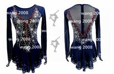 Ice skating dress Competition Figure Skating Twirling Costume navy