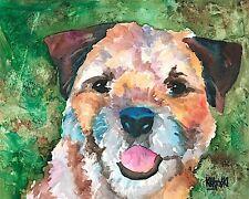 Border Terrier Dog 11x14 signed art Print Rjk painting