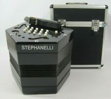More details for stephanelli anglo 15-key concertina musical instrument with storage case