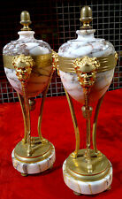 """Pair of Antique French Marble Cassolettes with Ormolu Bronze Mounts 12.25"""" Tall"""
