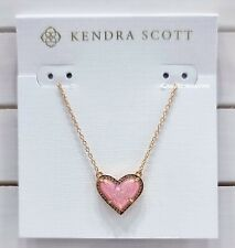 Kendra Scott 14k Rose Gold Pink Quartz Ari Heart Pendant Necklace Jewelry