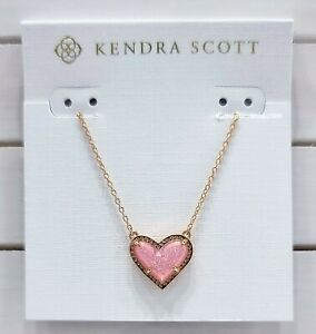 NEW Authentic KENDRA SCOTT 661 Rose Gold Pink Drusy Ari Heart Pendant Necklace