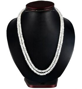 2 Row Faceted White Moonstone Roundelle 5-6 MM Beads Necklace Silver Lock  1758
