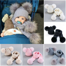 Toddler Baby Knit Hat Scarf Winter Warm Beanie Cap Double Pom Faux Fur Hat Set