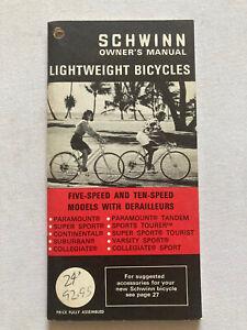vintage schwinn bicycle Owners Manual '72 5/10 Speed Models Mint