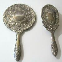 Vintage Vanity Mirror Brush Set Antique