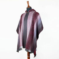 LIGHT BABY ALPACA WOOL CAPE PONCHO WRAP SHAWL COAT UNISEX HANDMADE IN ECUADOR