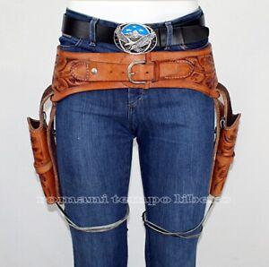 Belt Leather Knit Western Leather Double Holster Gun Belt Rig Revolver