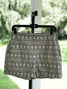 NWT! Gap Women's Sz 4 Pockets High Waist Hi Rise woven shorts Black White $39