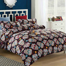 Sugar Skull Duvet Quilt Doona Cover Set Single Queen Super King Size Bed Double