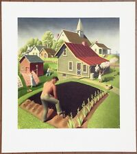Grant Wood Spring in Town Vintage Original 1st Ltd Ed Rare 1960 Collotype Print