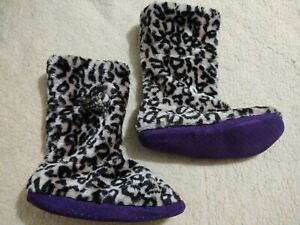 Boot Slippers Leopard Animal Print Plush Booties w/ Pom Poms Size L 9 - 10