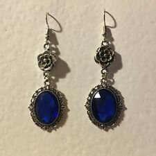 VICTORIAN STYLE -DIAMOND ROSE - DEEP BLUE SILVER PLATED DROP EARRINGS hook DR