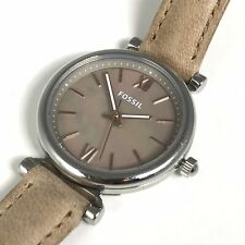 Fossil Womens Watch Mother of Pearl Dial Beige Leather Band