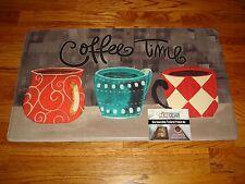 Anti Fatigue Memory Foam Kitchen Mat Rug 18x30 COFFEE TIME Cups MUGS Checks DOT