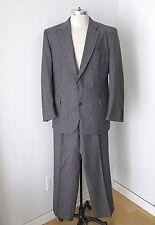 Vtg 70s Gray Red Checker Plaid Wool Flannel 2-Pc Pants Blazer Disco Pimp Suit 44