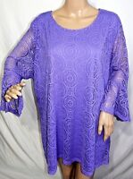 N Touch Women Plus 1x 2x 3x Purple Lilac Lined Mesh Lace Tunic Top Blouse Shirt