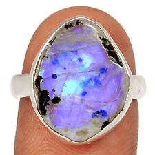 Rainbow Moonstone And Quartz 925 Sterling Silver Ring Jewelry s.7.5 BR62890