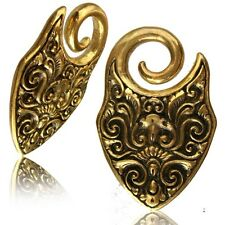 PAIR 6g (4mm) TRIBAL SPIRAL TWISTS BRASS EAR WEIGHTS PLUGS TUNNELS STRETCH GAUGE