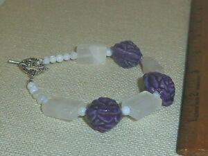 Rectangle Quartz beads 8in handmade bracelet w/ porcelain flowers jewelry BR105