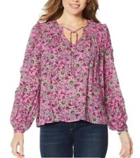Jessica Simpson Womens Plus Size 2X Pink Songbird Peasant Top Floral NEW $79