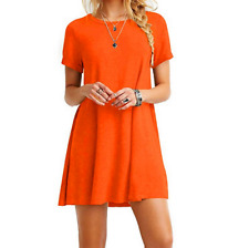 Women's Casual Short Sleeve Solid Loose Tunic Top Shirt Blouse Dress Plus Size
