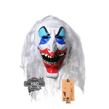 H&D Halloween Mask White Hair Clown Face Fancy Party Costume Scary Dress Props