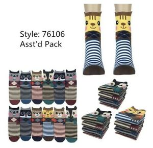 New women 6 pairs cute animal bear owl print cotton warm socks