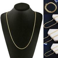18 Karat Gold Halskette 2mm flache Halskette Gold Filmy Kette Männer Frauen F0E5