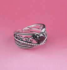 I03 Ring Silber 925 Bänder und Ranken schwarzer Kristall größenverstellbar