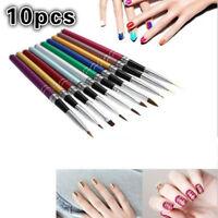 10Pcs/Set 3D Nail Art Painting Brush Pen Colorful Metal For UV Gel Design Polish