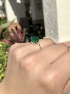 Solitaire Engagement Natural Colombian Round Faceted Emerald Designer Ring Gift