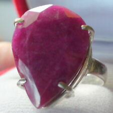 22.10ct NATURAL REDDISH PINK BERYL EMERALD CRYSTAL VINTAGE RING 925 SILVER.8.5
