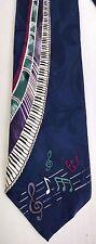 Upbeat Piano Keyboard Music Blue Tie 100% Silk Musician Roffe