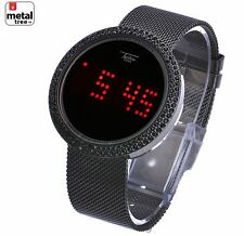 Men's Techno Pave Digital Iced Out Touch Screen Mesh Metal Band Watch WM 8246 HE