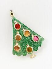 VINTAGE SIGNED B. J. BEATRIX ENAMEL CHRISTMAS TREE PIN BROOCH