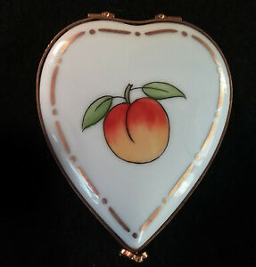 Valentines Day Limoges Box Heart Peach Tree and Peach Lot 1073