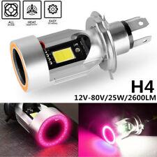 H4 9003 HB2 Motorcycle LED Headlight Bulb Hi/Lo Red Angel Eye 6000K White 12-80V