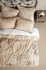 NWT ANTHROPOLOGIE GEORGINA SAND BEIGE KING DUVET COVER + 2 STANDARD PILLOW SHAMS