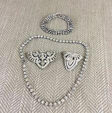 Vintage Art Deco Necklace Brooches Bracelet Crystal Diamante Mixed Job Lot Vtg