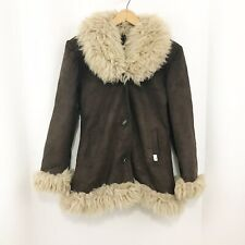 Deadstock Vtg Women's Brown Suede Lamb Fur Boho Hippie Winter Jacket Coat Xs
