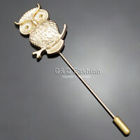 Art Nouveau Greek Wisdom Owl Gold Lapel Brooch Tie Hat Scarf Stick Pin Badge