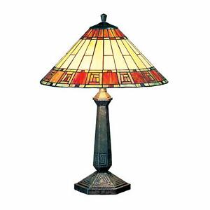 Egyptian Design Tiffany Stained Glass Table Lamp 40cm Shade Diameter MT05