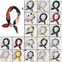 Elegant Women Silk Head Neck Satin Scarf DIY Hair Tie Band Small Square Scarf