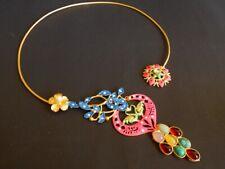 Handmade Matte Gold plated Multi Stone Meena Handpainted Hasli Necklace