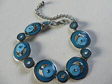 FUNKY RETRO 60s/70s BLUE TURQUOISE DIAMANTE CIRCLE DISC LINKED BRACELET  new