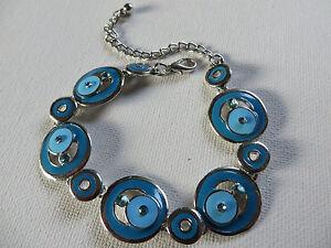FUNKY RETRO 60s/70s BLUE TURQUOISE DIAMANTE CIRCLE DISC LINKED BRACELET  new