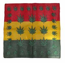 "22""x22"" Rasta Weed Marijuana Leaf Boarder Red Yellow Green Bandana"