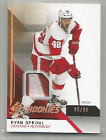 2014-15 UD SP Game Used Rookie Patch #146 Ryan Sproul 2 CLR Patch /99 Red Wings
